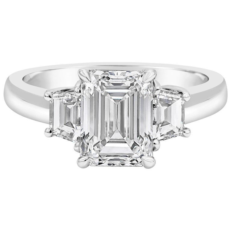 8be1b89ecef1c GIA Certified Emerald Cut Diamond Three-Stone Engagement Ring