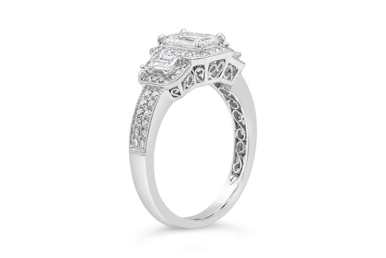 GIA Certified Emerald Cut Diamond Three-Stone Halo Engagement Ring In New Condition For Sale In New York, NY