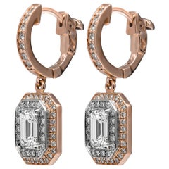 GIA Certified Emerald Cut Drop Earrings