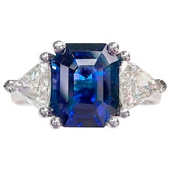 GIA Certified Emerald Cut Sapphire and Diamond 3-Stone Platinum Ring