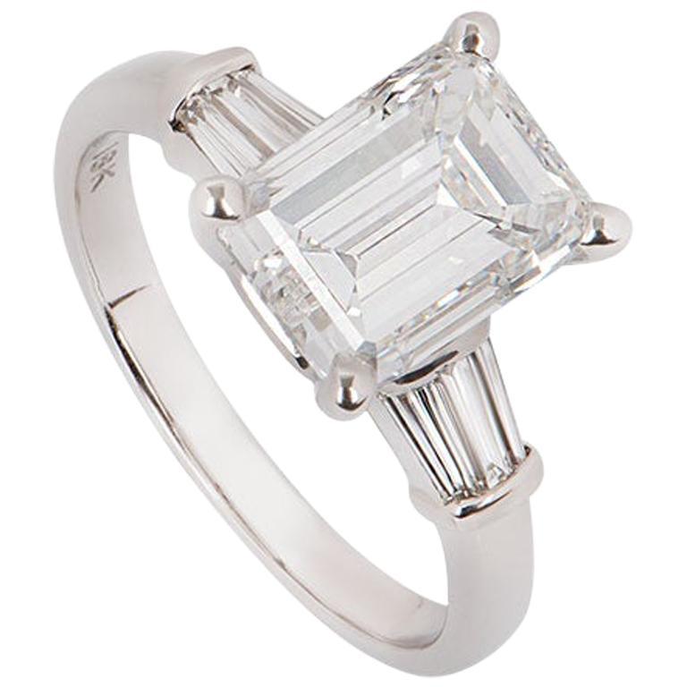 GIA Certified Emerald Cut Three-Stone Diamond Ring 3.62 Carat G/VVS2 For Sale