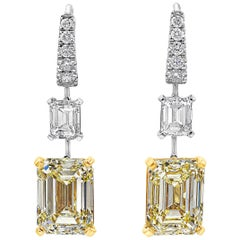 Roman Malakov, GIA Certified Emerald Cut Yellow Diamond Dangle Earrings