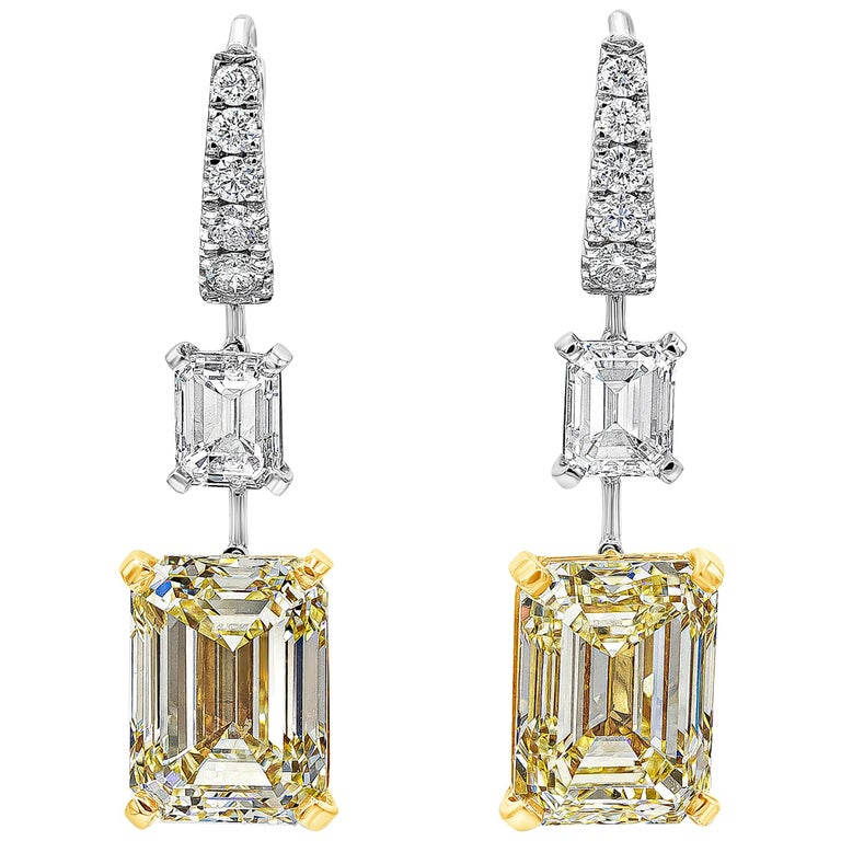 GIA Certified Emerald Cut Yellow Diamond Dangle Earrings For Sale