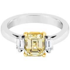 GIA Certified Emerald Cut Yellow Diamond Three-Stone Engagement Ring