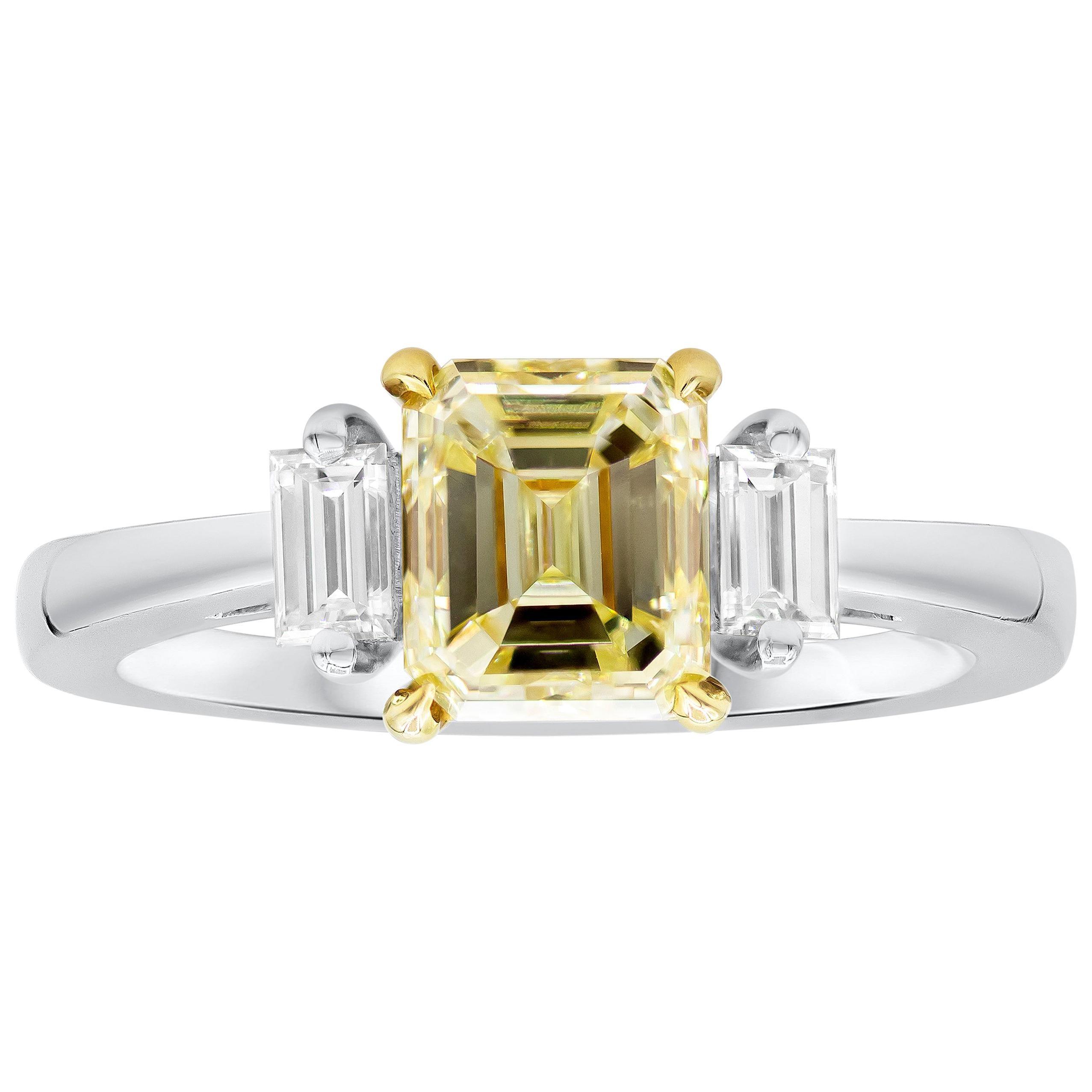 Roman Malakov, Emerald Cut Yellow Diamond Three-Stone Engagement Ring