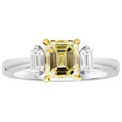 Roman Malakov, Emerald Cut Yellow Diamond Three-Stone Engagement Ring