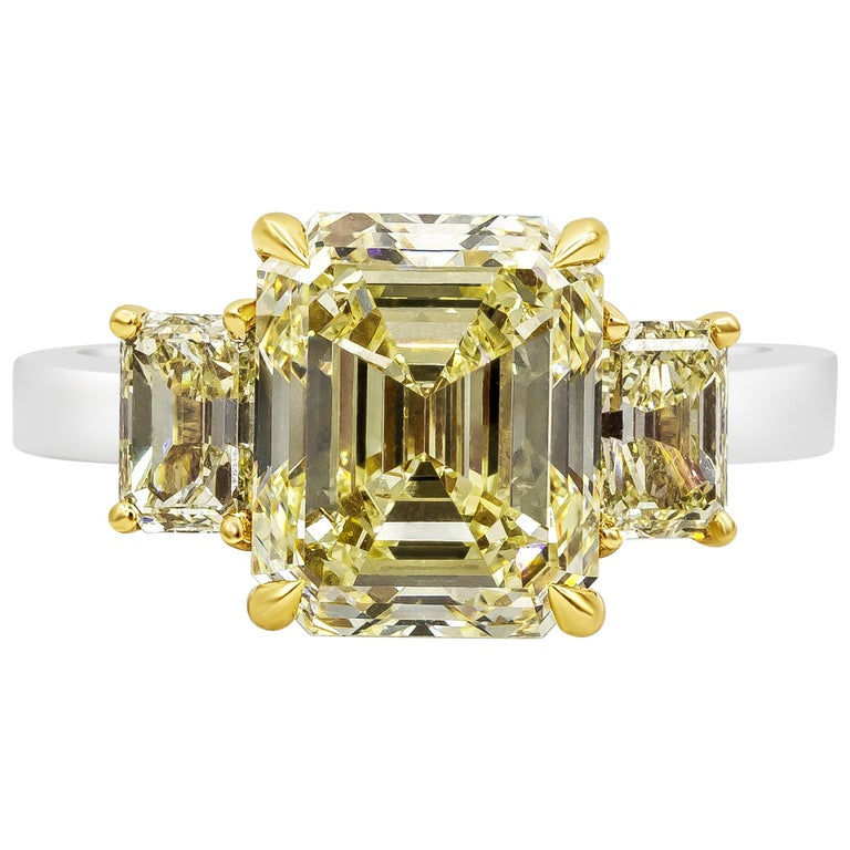 GIA Certified Emerald Cut Yellow Diamond Three-Stone Engagement Ring For Sale