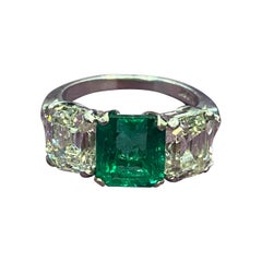 GIA Certified Emerald & Diamond Three Stone Ring