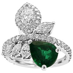 GIA Certified Emerald Pear White Diamond Fashion Cocktail Flower Gold Ring