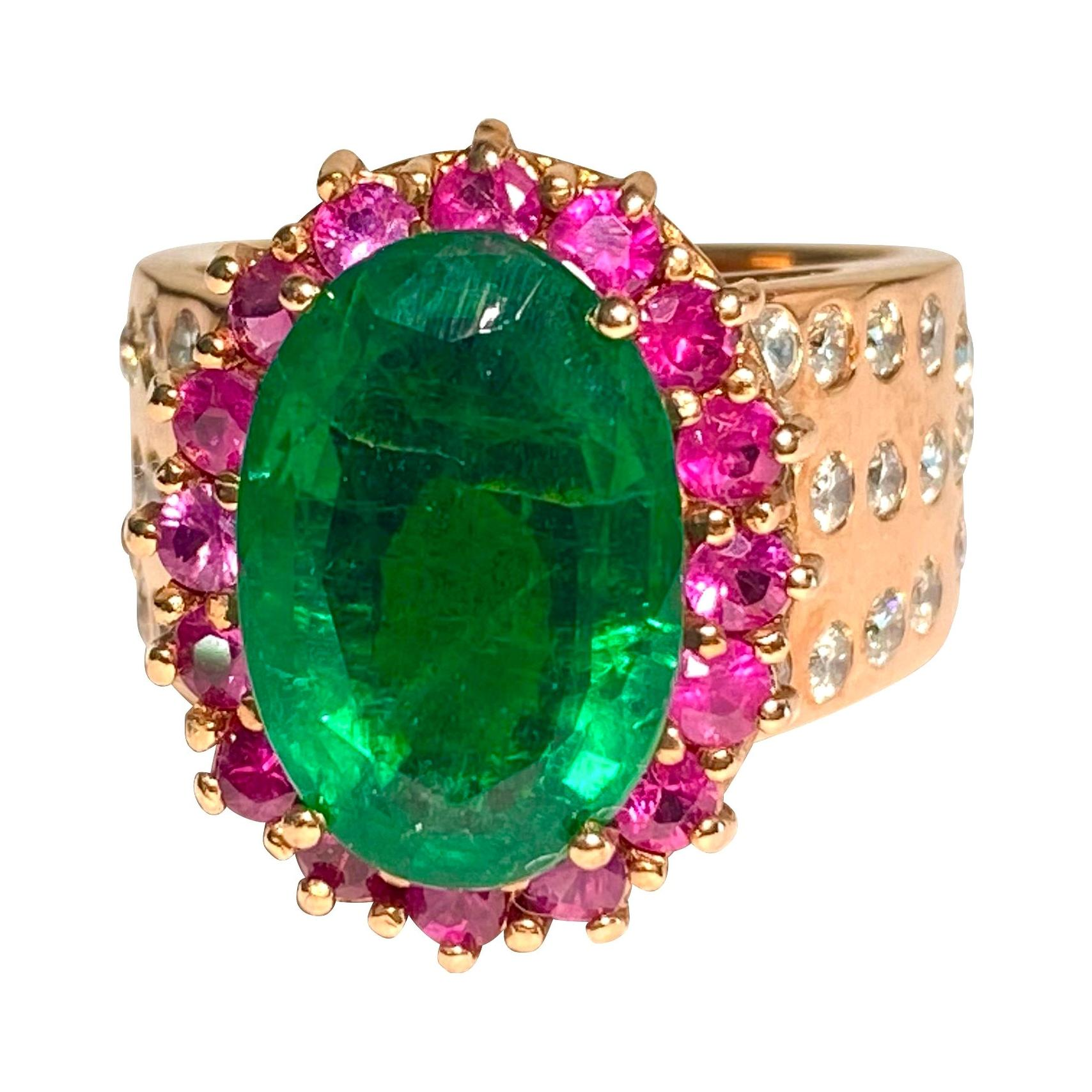 GIA Certified Emerald Ruby Diamond Cocktail Ring