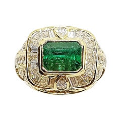 GIA Certified Emerald with Diamond Ring Set in 18 Karat Gold Settings