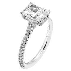GIA Certified Engagement Ring with 1.71 Carat Radiant Cut Diamond