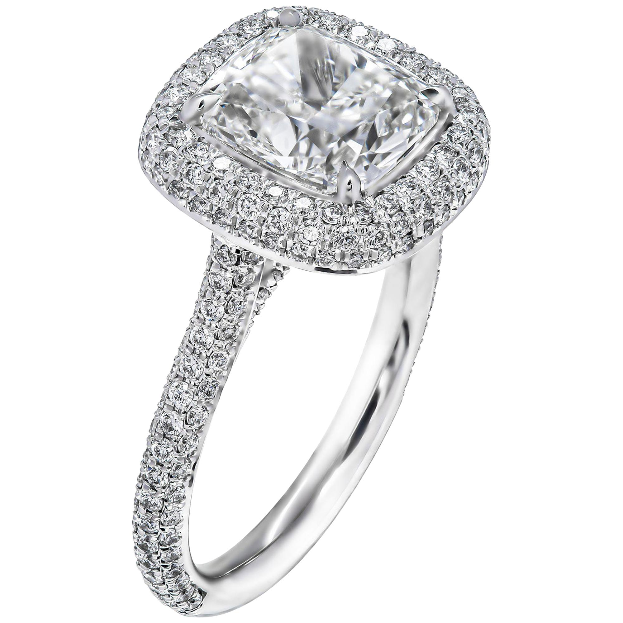GIA Certified Engagement Ring with 3.03 Carat Cushion Cut Diamond