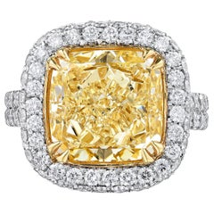 GIA Certified Engagement Ring with 6.11 Carat Yellow Cushion Cut Diamond
