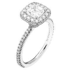 GIA Certified Engagement Ring with Asscher Cut Diamond 1.05 Carat