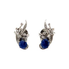 GIA Certified Estate Blue Sapphire Round & Baguette Diamond 14K WG Earrings