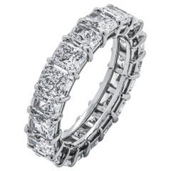 GIA Certified Eternity Band with 5.81 Carat Radiant Cut Diamonds