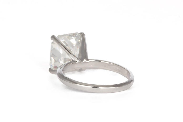 Radiant Cut GIA Certified F/VS2 14 Karat Gold and Radiant Diamond Solitaire Ring 5.05 Carat For Sale