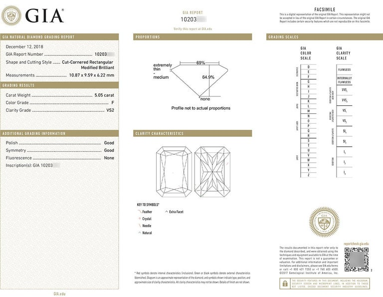 GIA Certified F/VS2 14 Karat Gold and Radiant Diamond Solitaire Ring 5.05 Carat For Sale 3