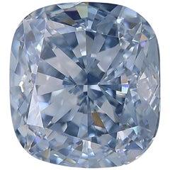 GIA Certified Fancy Blue Cushion Diamond VS1 Clarity
