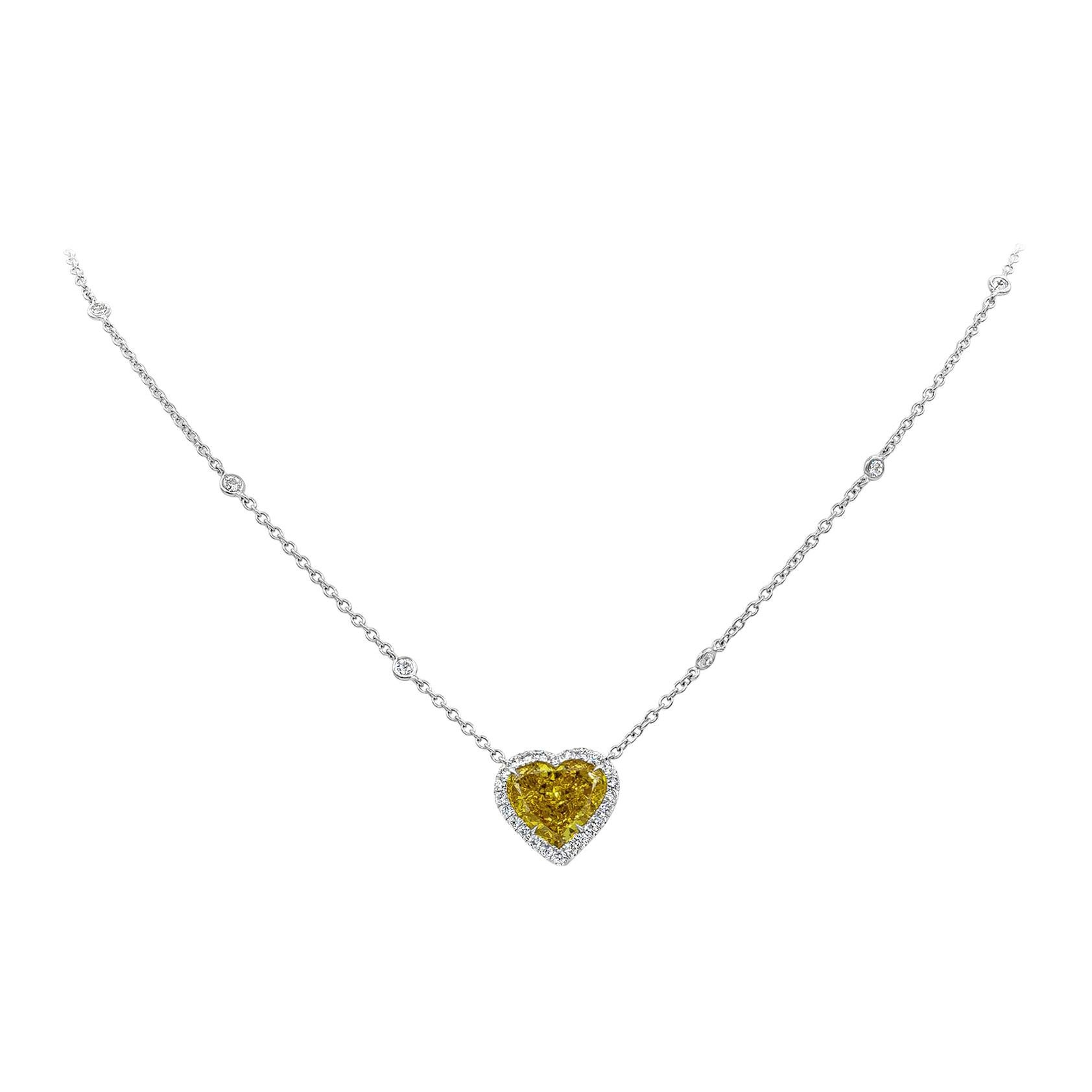 GIA Certified Fancy Deep Orangy Yellow Heart Diamond Halo Pendant Necklace
