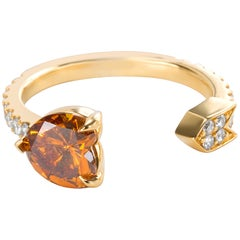 GIA Zertifiziert Dunkelgelber Herzförmiger Diamantring in 18 Karat Gold 1,35 Karat