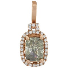 GIA Certified Fancy Green-Yellow Gray Cushion Cut Diamond Pendant