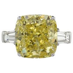 GIA Certified Fancy Intense 5.75 Carat Cushion Diamond Platinum Ring