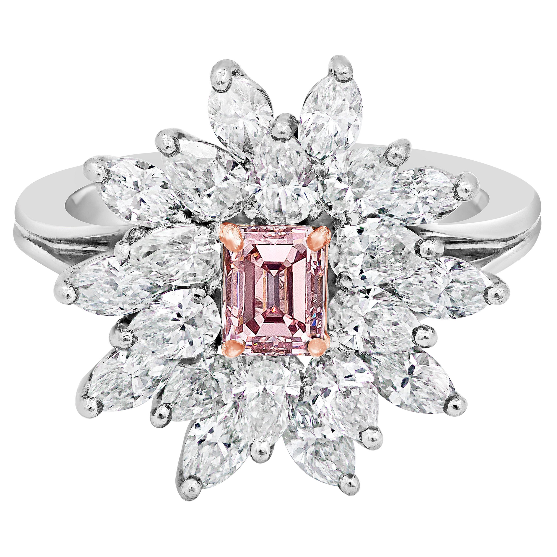 Roman Malakov, GIA Certified Fancy Intense Pink Diamond Cluster Engagement Ring