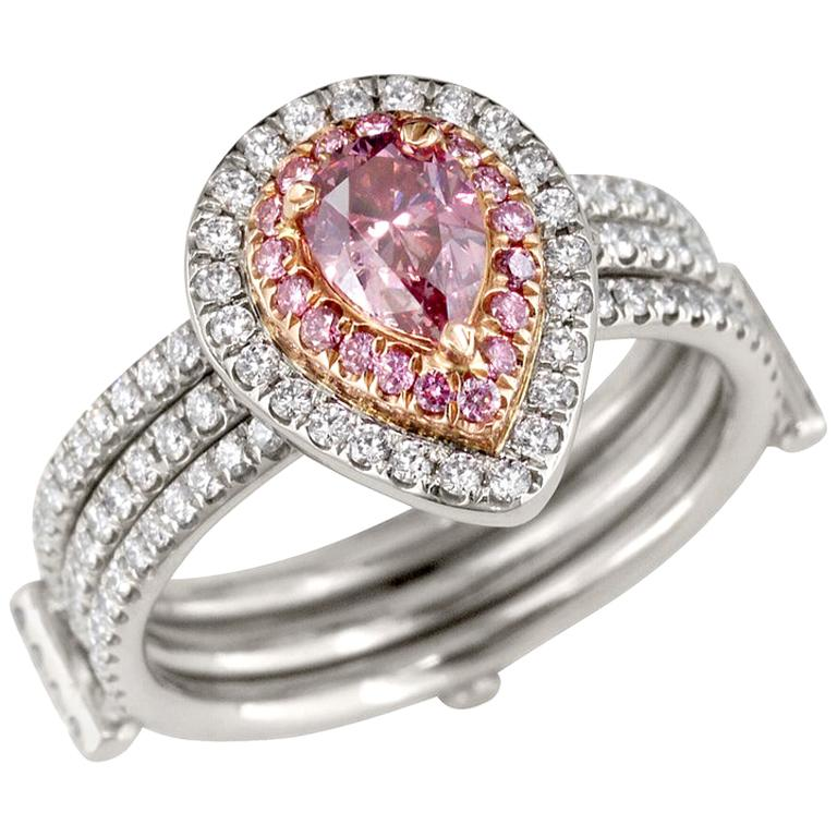 GIA Certified Fancy Intense Purplish Pink Pear Shape Diamond Ring