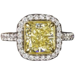 GIA Fancy Yellow 3 Carat Cushion Diamond Ring