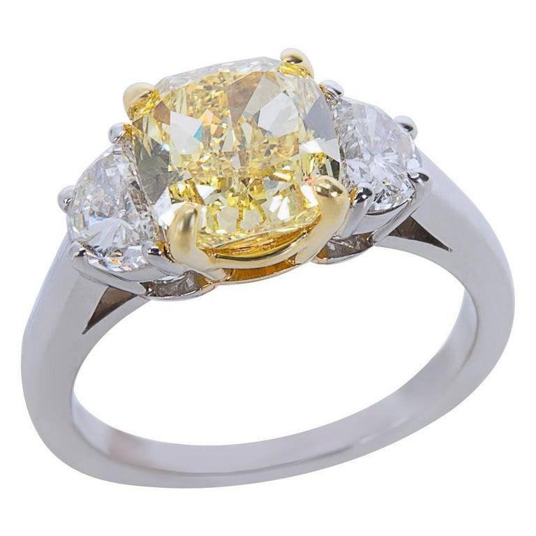 Cushion Cut GIA Certified Fancy Intense Yellow Cushion Diamond Engagement Ring 3.55 Carat For Sale