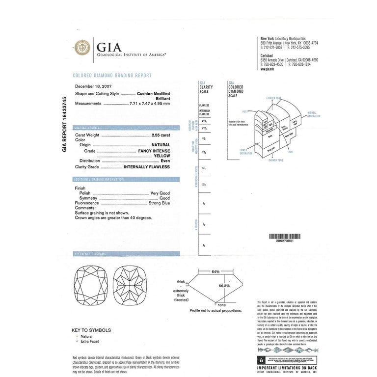 GIA Certified Fancy Intense Yellow Cushion Diamond Engagement Ring 3.55 Carat In New Condition For Sale In New York, NY