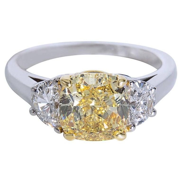 GIA Certified Fancy Intense Yellow Cushion Diamond Engagement Ring 3.55 Carat