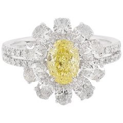 GIA Certified Fancy Intense Yellow Diamond and White Diamond Ring in Platinum