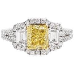 GIA Certified Fancy Intense Yellow Diamond and White Diamond Ring in Platinum