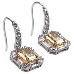 GIA Certified Fancy Yellow Diamond Dangle Earrings White Gold