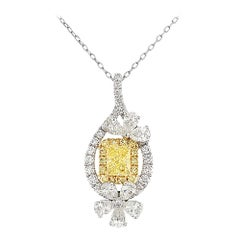 GIA Certified Fancy Intense Yellow Diamond in Platinum Pendant with Chain