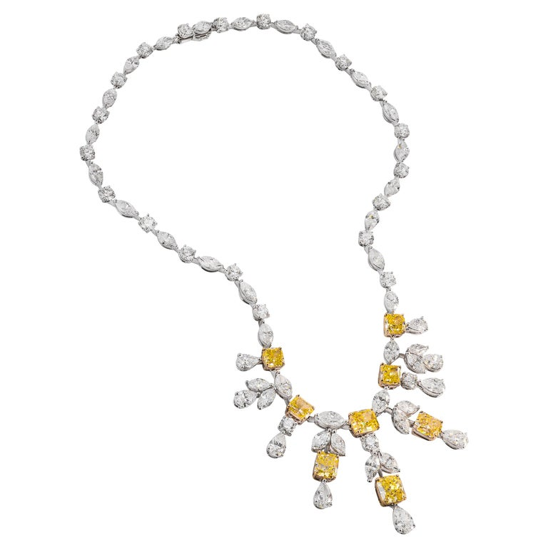GIA Certified Fancy Intense Yellow Diamond Necklace by Graff For Sale
