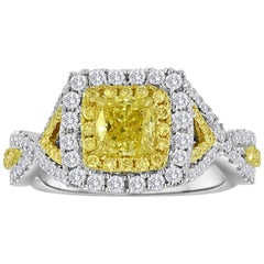GIA Certified Fancy Intense Yellow Double Halo Two-Color Gold Engagement Ring