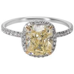 GIA Certified Fancy Light Yellow Cushion Cut Diamond Engagement Ring 2.48 Carat
