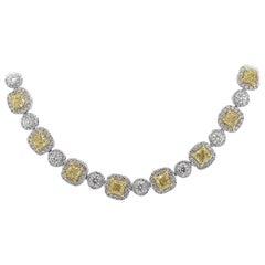 GIA Certified Fancy Light Yellow Cushion Cut Diamond Tennis Necklace