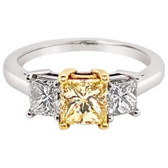 GIA Certified Fancy Light Yellow Diamond Ring in Platinum