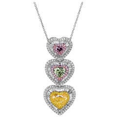GIA Certified Fancy Multi Colored Heart Pendant, 5.74