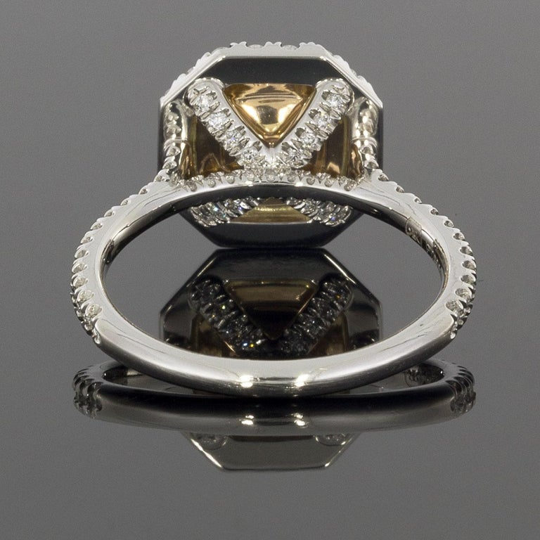 Cushion Cut GIA Certified Fancy Pink Cushion Diamond Double Halo Engagement Ring
