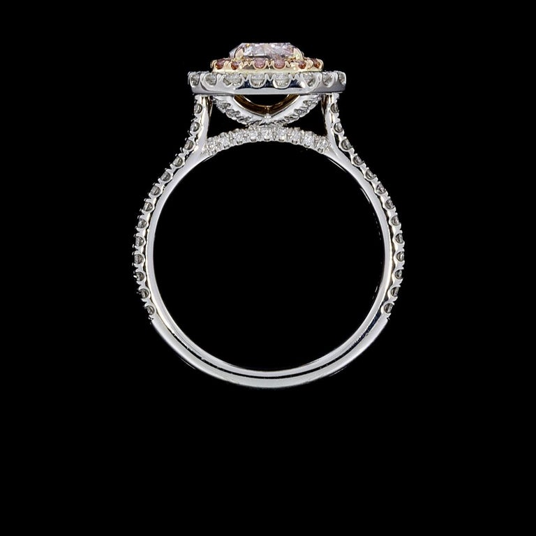GIA Certified Fancy Pink Cushion Diamond Double Halo Engagement Ring In New Condition In Columbia, MO