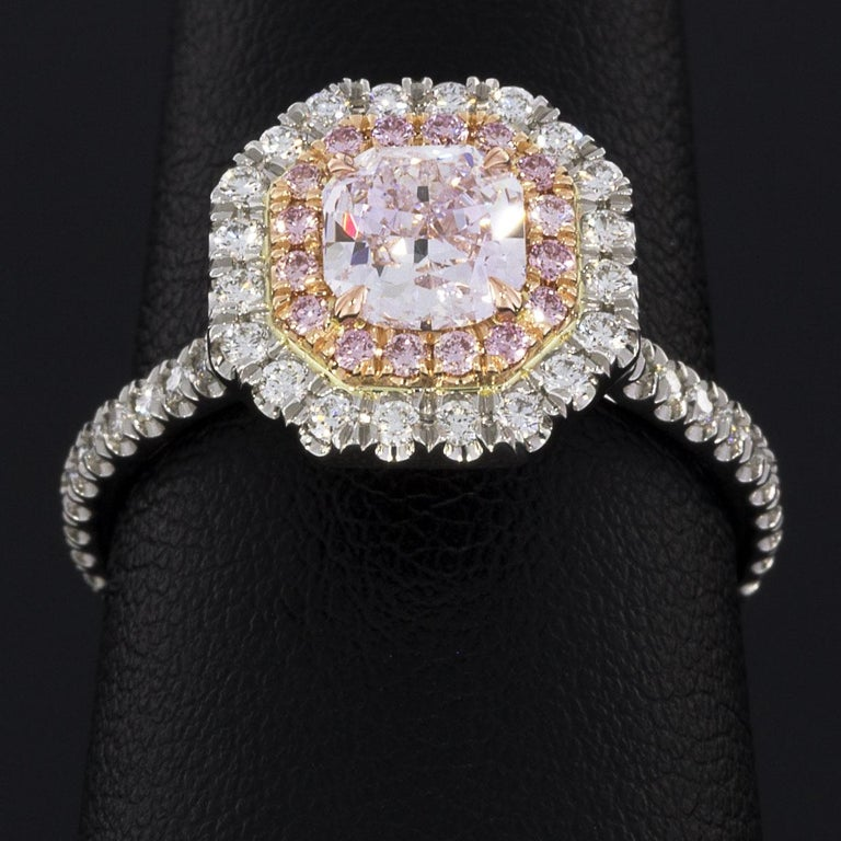 Women's GIA Certified Fancy Pink Cushion Diamond Double Halo Engagement Ring