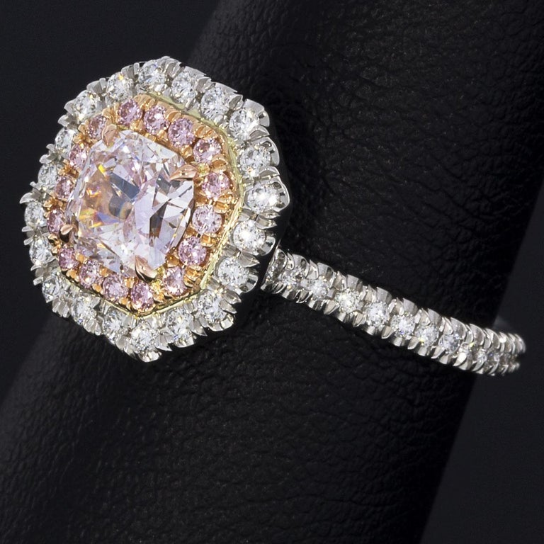 GIA Certified Fancy Pink Cushion Diamond Double Halo Engagement Ring 1