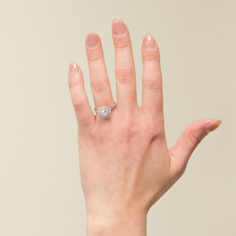 GIA Certified Fancy Pink Cushion Diamond Double Halo Engagement Ring 2