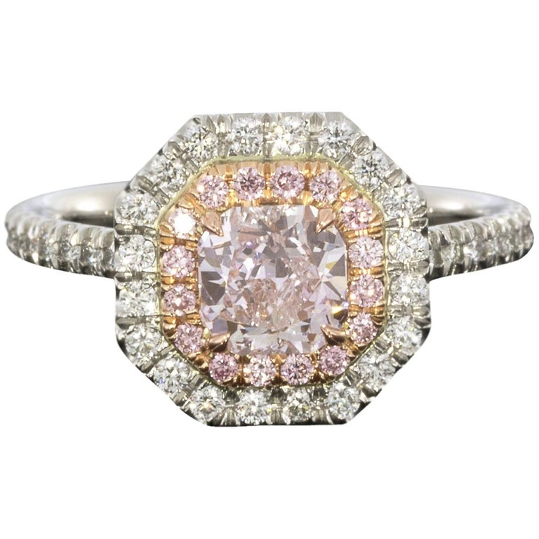 GIA Certified Fancy Pink Cushion Diamond Double Halo Engagement Ring